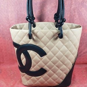 Authentic Chanel CC Logo Leather Quilted Tote